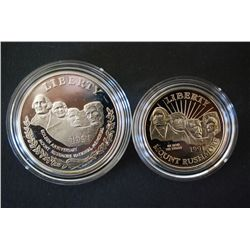1991-S Mt. Rushmore Commerative $1 Proof; 90% Silver .76 Oz. & 1991-S Mt. Rushmore Commerative Half