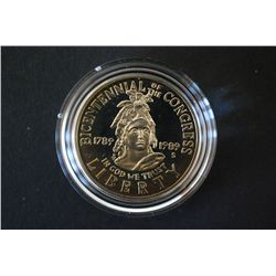 1989-S Bicentennial of Congress Commerative Half Dollar Proof; EST. $30-45