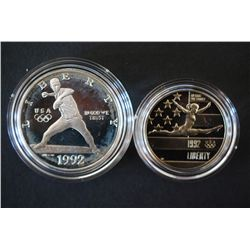 1992-S US Olympic Commerative $1 Proof & 1992-S US Olympic Commerative Half Proof; CLAD; EST. $30-45