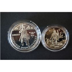 1992-P Columbus Quincentenary Commerative $1 Proof; 90% Silver .76 Oz. & 1992-S Columbus Quincentena