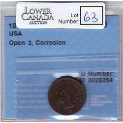 USA; Small Cent 1873, CCCS EF-40; Open 3, Corrosion.