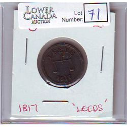 Great Britain Token; Leeds 1817 with Scale, Reverse depict armory.