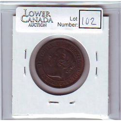 Canada 1 Cent 1859 AU-50, Narrow 9, Repunched 8, Die Clash on Obverse, Medal Alignment.