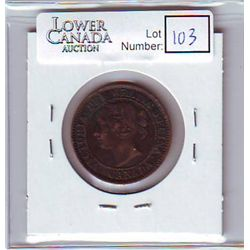Canada 1 Cent 1859 VF-20, Wide 9/8, Medal Alignment, Vert di Gris on obverse.