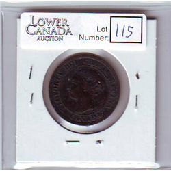 Canada 1 Cent 1891 VF-20, Small Date, Large Leaves, Obverse 3.