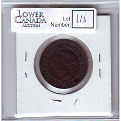 Canada 1 Cent 1891 EF-40, Small Date, Small Leaves, Obverse 2.