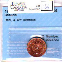 Cent 1949, CCCS MS-64; Red, A Off Denticle.