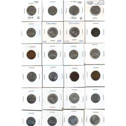 5 Cents 1922 to 1986. Lot of 38 low grade coins worth checking for varieties, some cleaned.