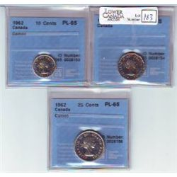 5 Cents 1962, 10 Cents 1962, 25 Cents 1962, all CCCS PL-65, 10 & 25 Cents Cameo. Lot of 3 coins.