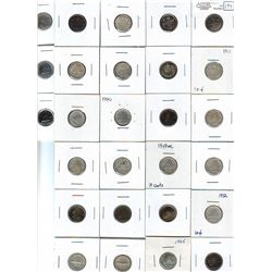 10 Cents 1899 S9 G-4 to 1973 MS-63. Lot of 27 coins many cleaned. Please read.