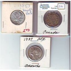 25 Cents 1929 F-15, 1937 EF-40 & 1953 EF-40 Shoulder Fold Small Date. Lot of 3 coins.