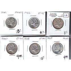 25 Cents 1938 VF-20, 1948 VF-20, 1950 VF-30, 1955 EF-45, 1961 MS-63 & 1964 MS-63. Lot of 6 coins.