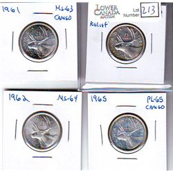 25 Cents 1951 MS-60 High Relief, 1961 MS-63 Cameo, 1962 MS-64 & 1965 PL-65 Cameo. Lot of 4 coins.