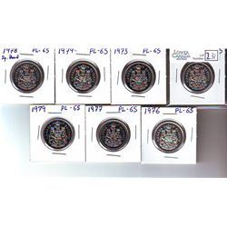 50 Cents 1969, 1973, 1974, 1976, 1977, 1978 Square Jewels & 1979 all coins UNC-65 from Uncirculated