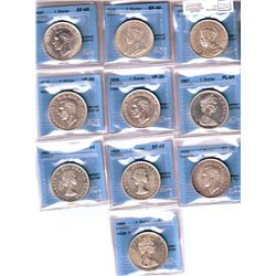 1 Dollar 1935 CCCS EF-40 to 1967 CCCS PL-64. Lot of 10 Coins. Read