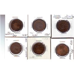 P.E.I. Lot of 6 x 1 Cent G to VF.