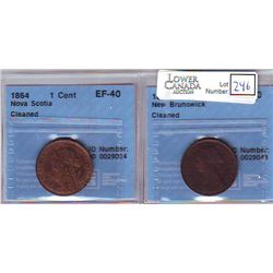 New Brunswick; 1 Cent 1861, CCCS VF-30; Cleaned. Nova Scotia; 1 Cent 1864, CCCS EF-40; Cleaned. Lot