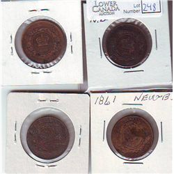 New Brunswick 1 Cent 1861 x 4 G to EF. Lot of 4 coins.