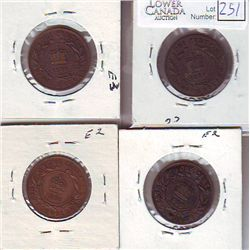 Newfoundland 1 Cent 1873, 1876H 1890 & 1936 al F to VF. Lot of 4 coins.