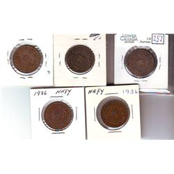 Newfoundland 1 Cent 1876H, 1880 Wide 0, 1917C,1936 x 2 VG toVF+. Lot of 5 coins.