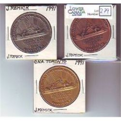 Jerry Remick Medals; 1991 Canadian Numismatic Association Convention in Toronto, copper plated, silv