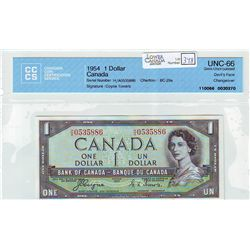 1954 Bank of Canada; Dollar BC-29a CCCS UNC-66 Devil's Face Changeover H/A0535886.