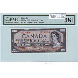1954 Bank of Canada; 100 Dollars BC-35a Devil's Face PMG AU-58 EPQ A/J1256896 well graded.