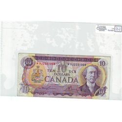 1971 Bank of Canada; 10 Dollars BC-49cA Fine + *VJ2231008 Replacement.