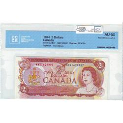 1974 Bank of Canada; 2 Dollars BC-47bA CCCS AU-50 Replacement ABX1629997.