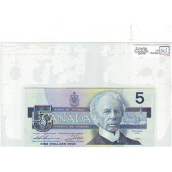 1986 Bank of Canada; 5 Dollars BC-56bA Uncirculated FNX2079483 Replacement.