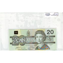 1991 Bank of Canada; 20 Dollars BC-58a-i Choice Uncirculated EIW0103169 With Serif.
