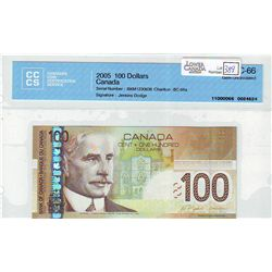 2006 Bank of Canada; 100 Dollars BC-66a BKM1230636 CCCS UNC-66.