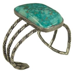 Turquoise and Silver Bracelet - White Buffalo