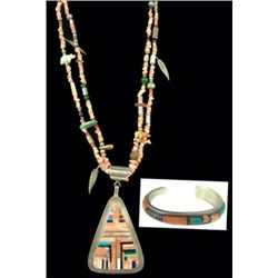 Zuni Inlay Necklace Set