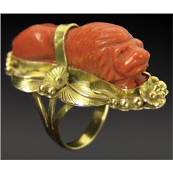 Gold and Coral Ring - Luke Yazzie