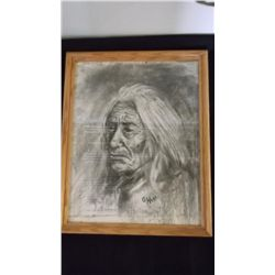 Pencil Drawing Indian Signed