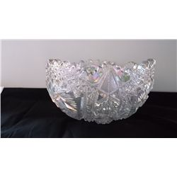 Clear iridescent Imperial carnival glass bowl