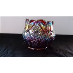 Red Imperial carnival glass vase / bowl
