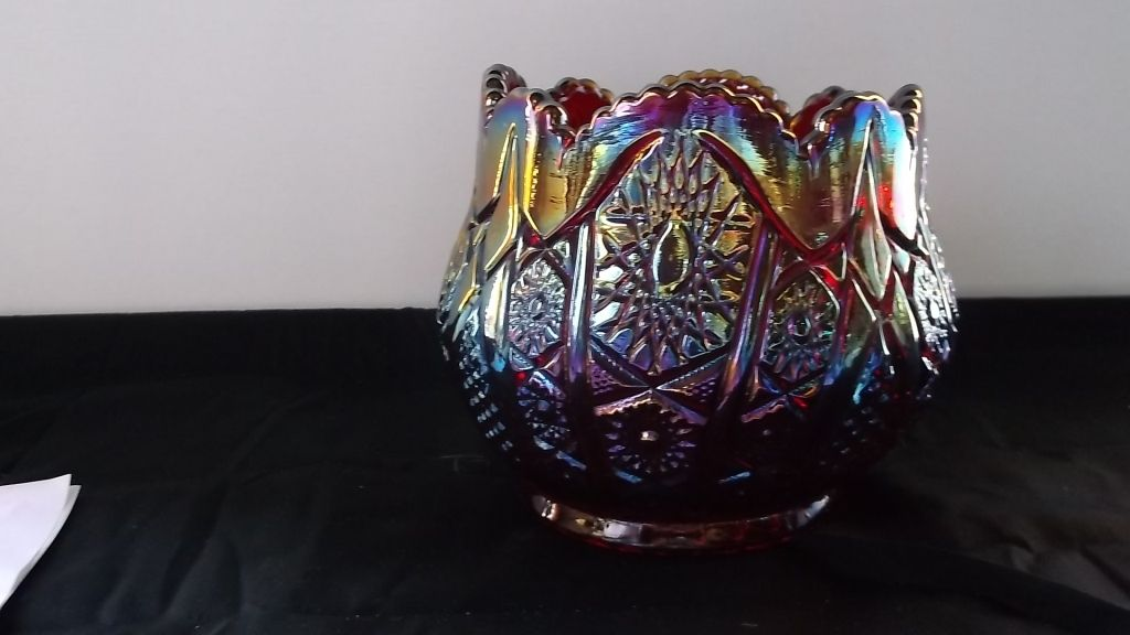 Red Imperial Carnival Glass Vase Bowl