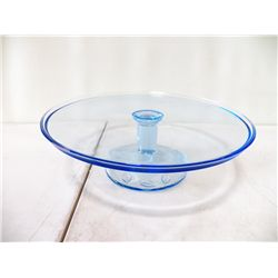 Light Blue Leaf Pattern Cake Plate