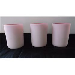set of 3 cased art glass Pairpoint  tumblers,
