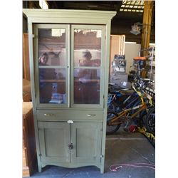 Vintage Primitive Pine Kitchen Cupboard Cabinet with Original Glass Doors