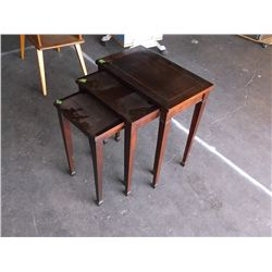 three piece set of Lane nested wooden end tables