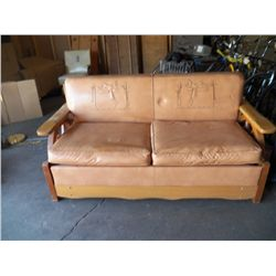 1950's Cowboy's Era – Wagon Wheel Sofa / Hide a Bed with Saddle Motif heavy solid built furniture