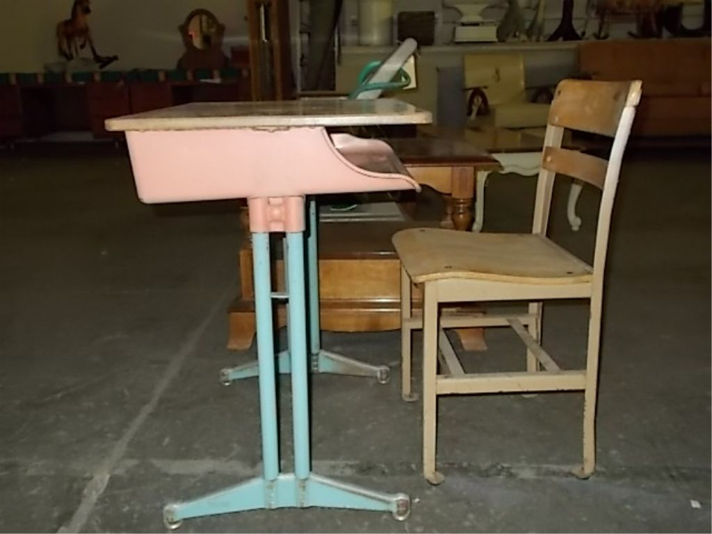 Pink Child School Desk Chair 1950 S Loading Zoom