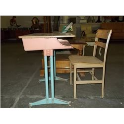 Pink Child School Desk & Chair  1950's