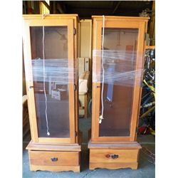 Two Pine Cabinets with Glass Doors and Display Lighting