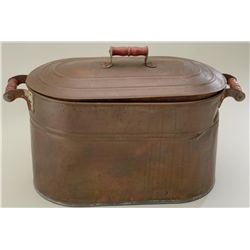 Large copper boiler pot with copper cover  circa 1890's in overall good condition  showing a nice da