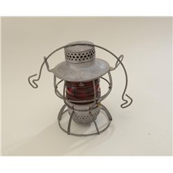 Older metal and red glass lens railroad  lantern by Dressel of Arlington, N.J. in very  good conditi