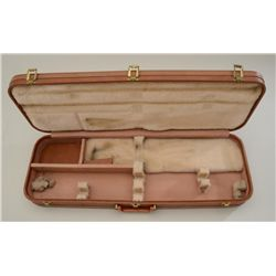 "Browning hard case for 28"" shotgun two barrel  set, 32"" x 10.75"" overall, light brown vinyl  with cr"
